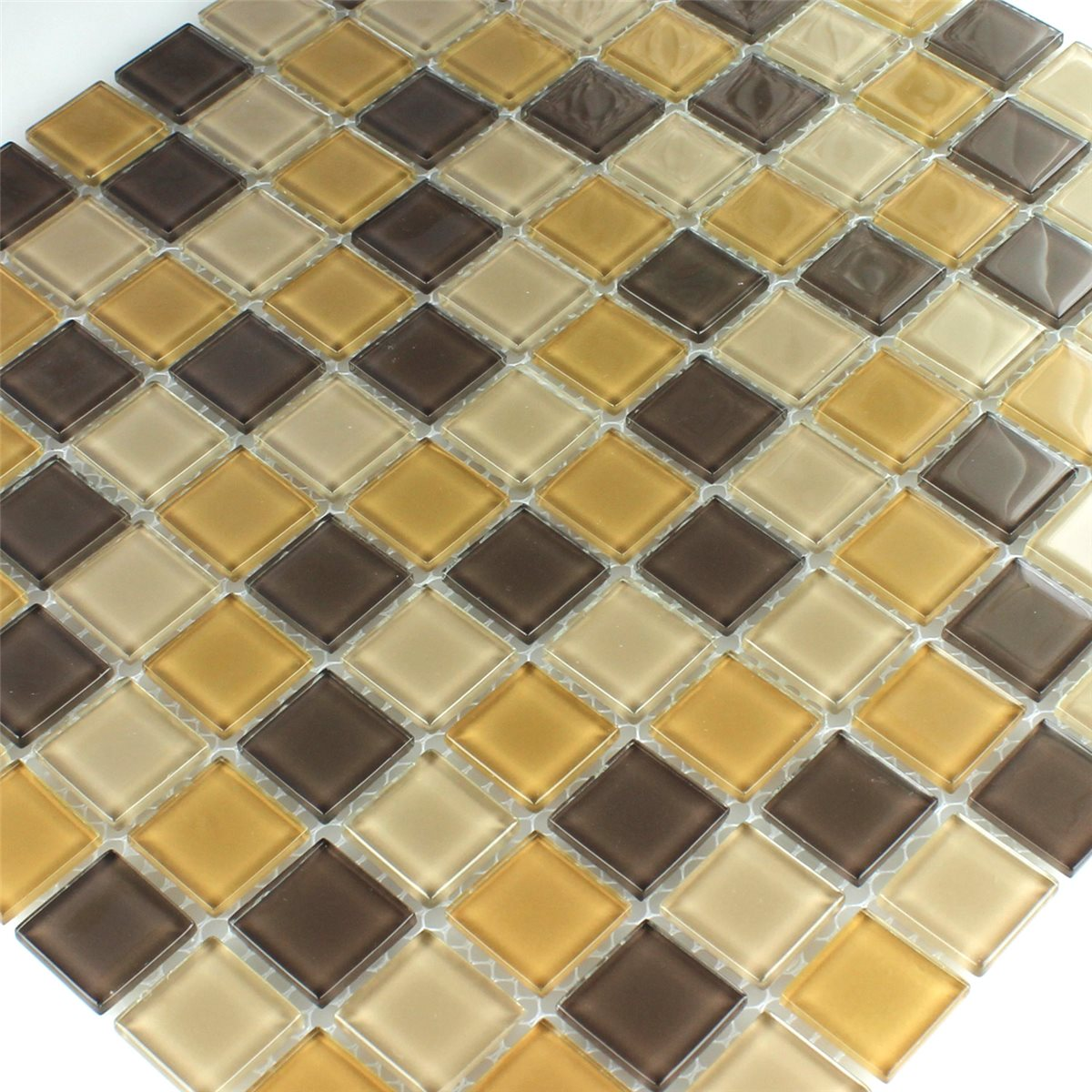 glass mosaic tiles brown mix 25x25x4mm. Black Bedroom Furniture Sets. Home Design Ideas