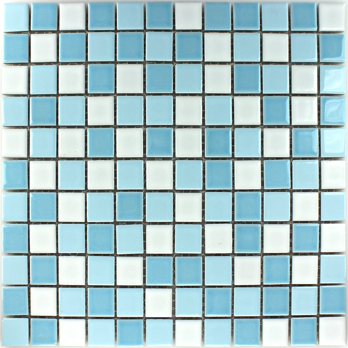 Ceramic Mosaic Tiles Blue White 25x25x5mm