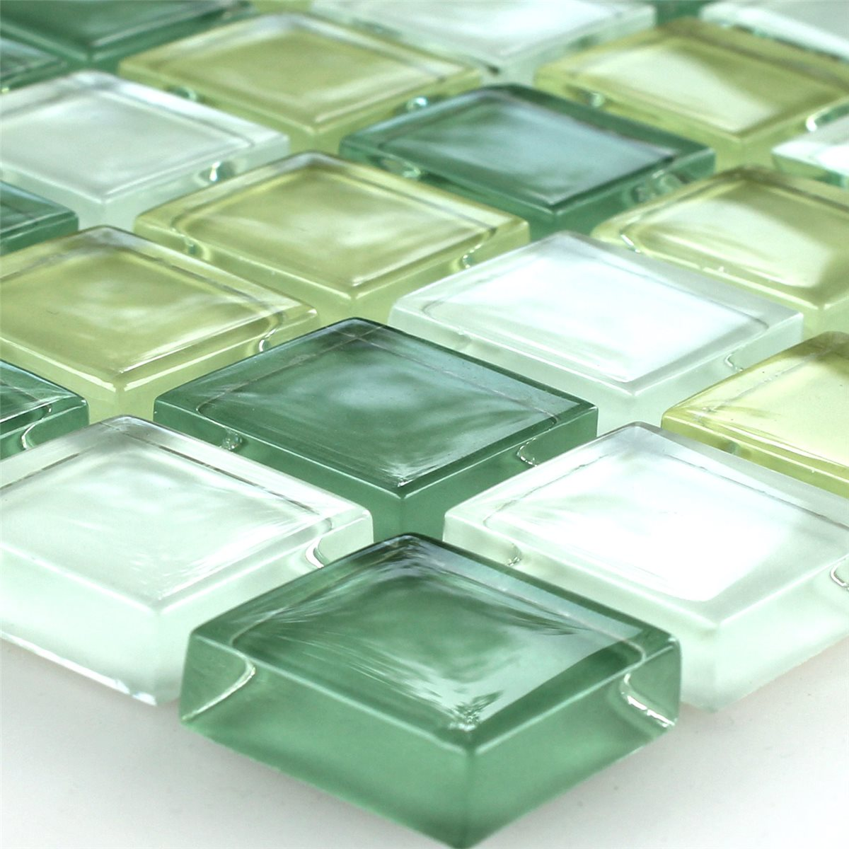 crystal glass mosaic tile yellow green 25x25x8mm www. Black Bedroom Furniture Sets. Home Design Ideas