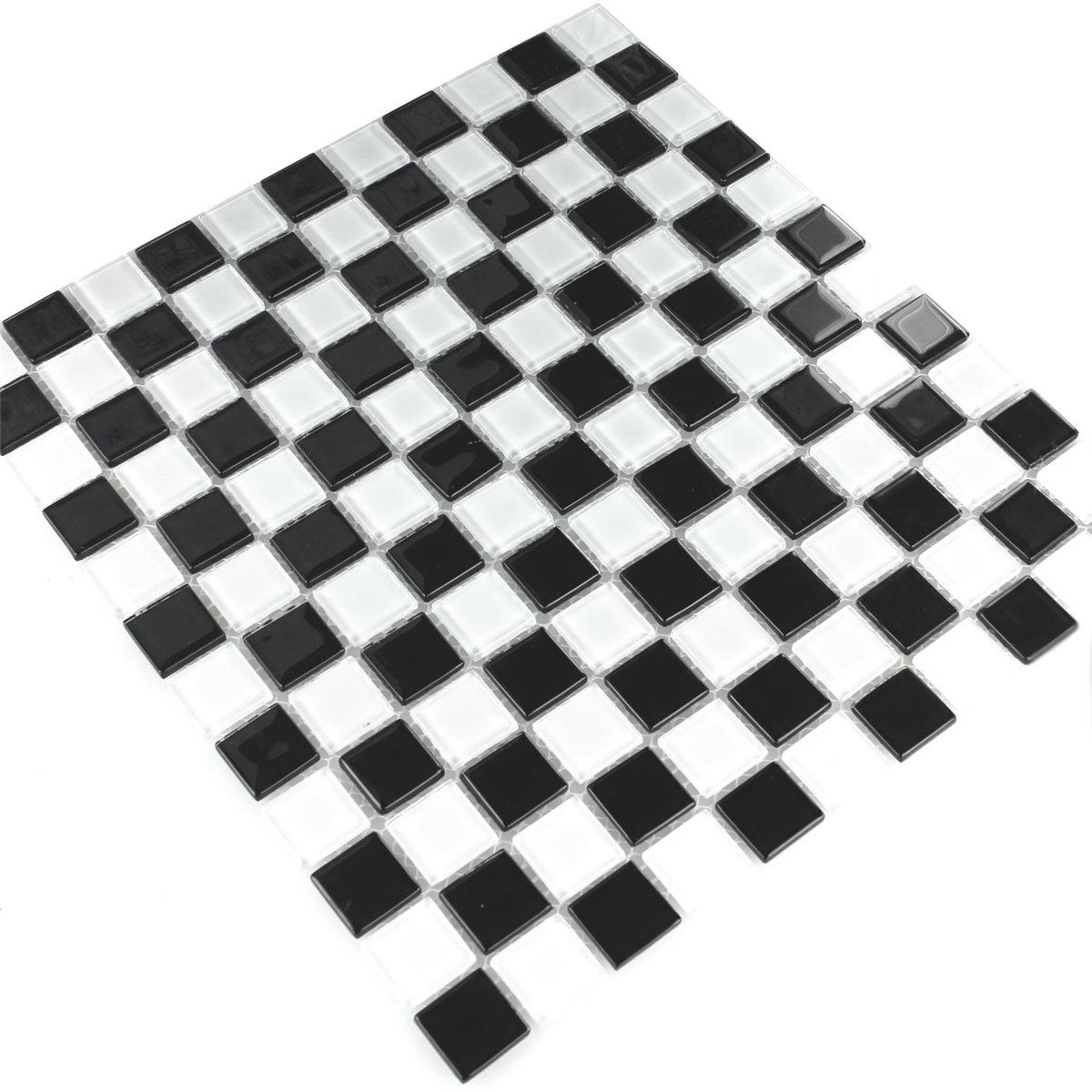 glass mosaic tiles chess board black white. Black Bedroom Furniture Sets. Home Design Ideas