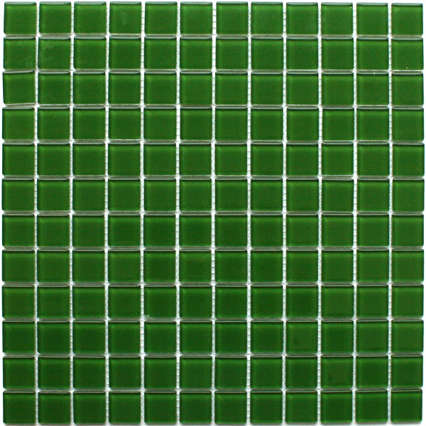 Glass Mosaic Tiles 23x23x4mm Dark Green Uni