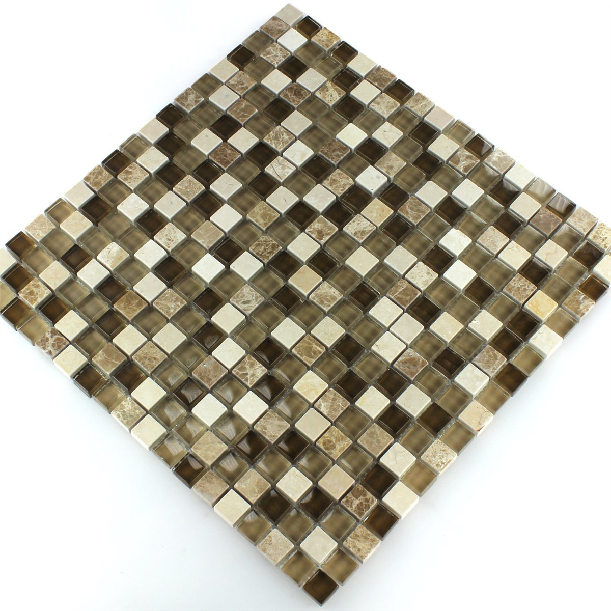 Glass Marble Mosaic Tile Brown Beige Ht88346m
