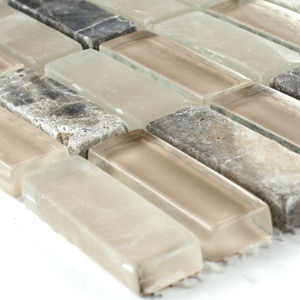Marble Glass Mosaic Tiles Beige Mix - MT51218m