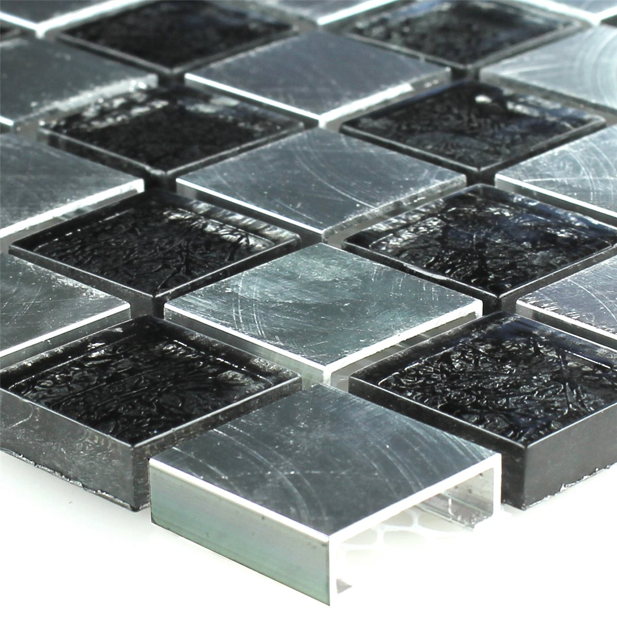 metal glass mosaic chess board 25x25x8mm. Black Bedroom Furniture Sets. Home Design Ideas