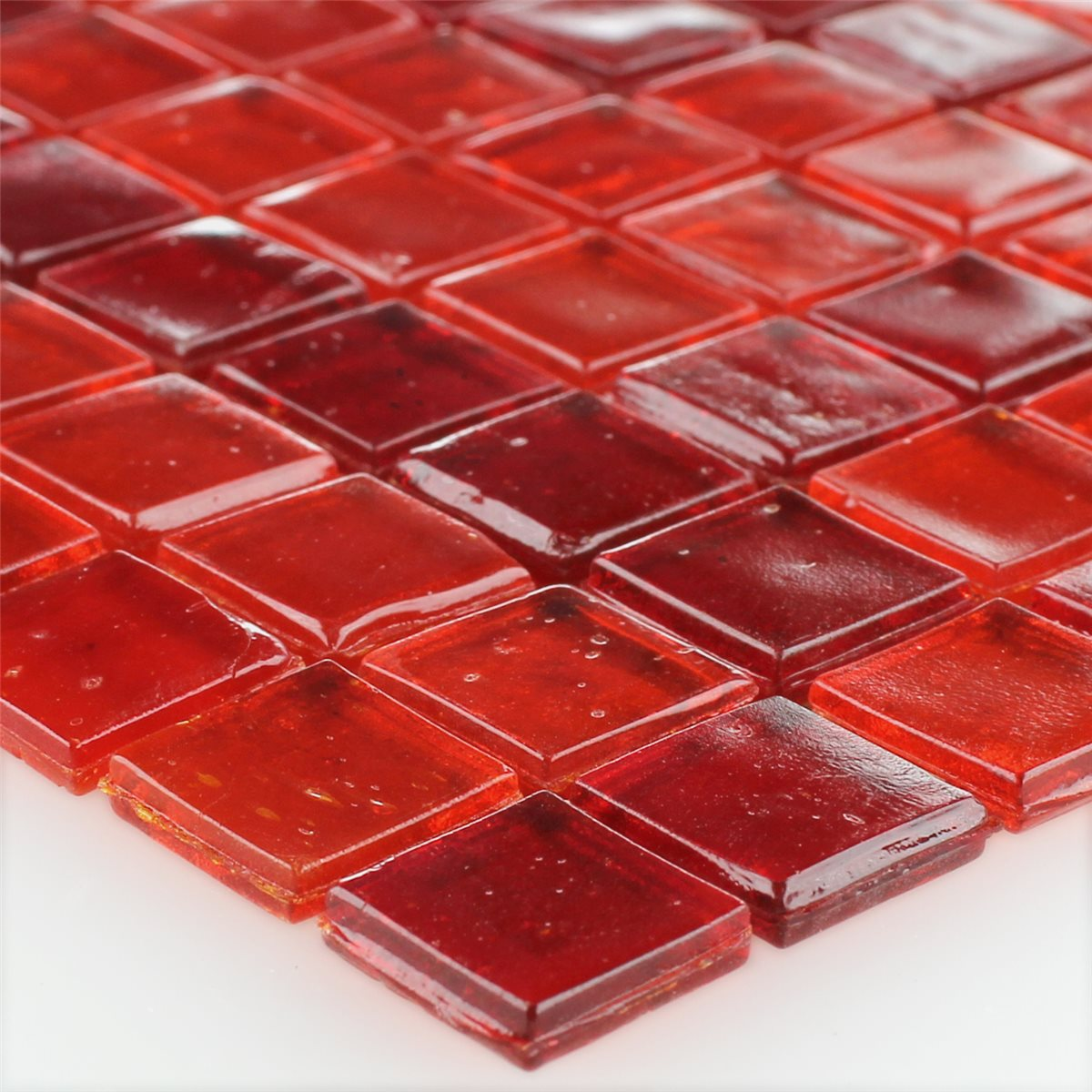 glass mosaic tiles red mix 15x15x3mm ht88471m. Black Bedroom Furniture Sets. Home Design Ideas