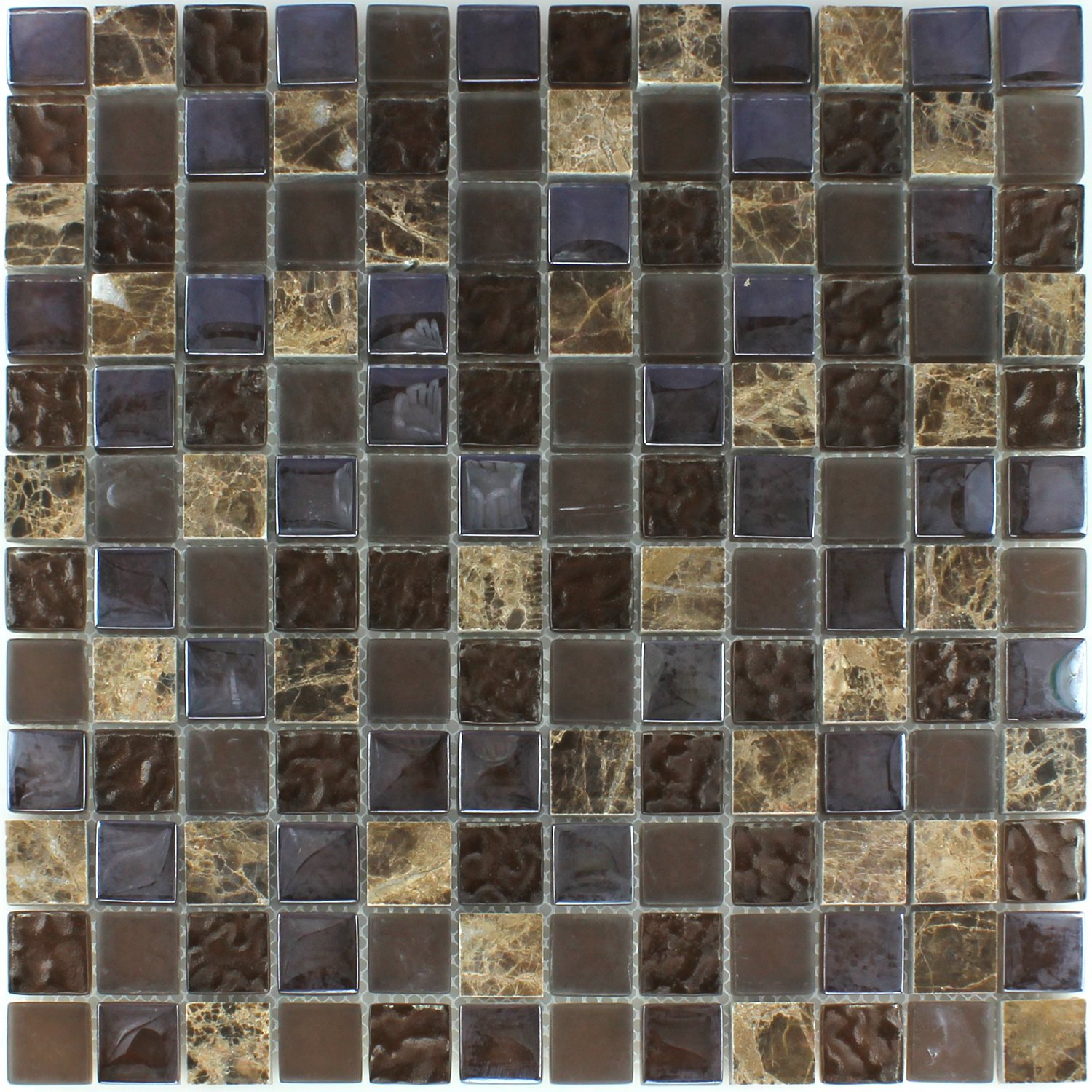 Natural Brown Crackle Pattern Glass Mosaic Tile Sample: Glass Natural Stone Mosaic Tiles Brown Drummed