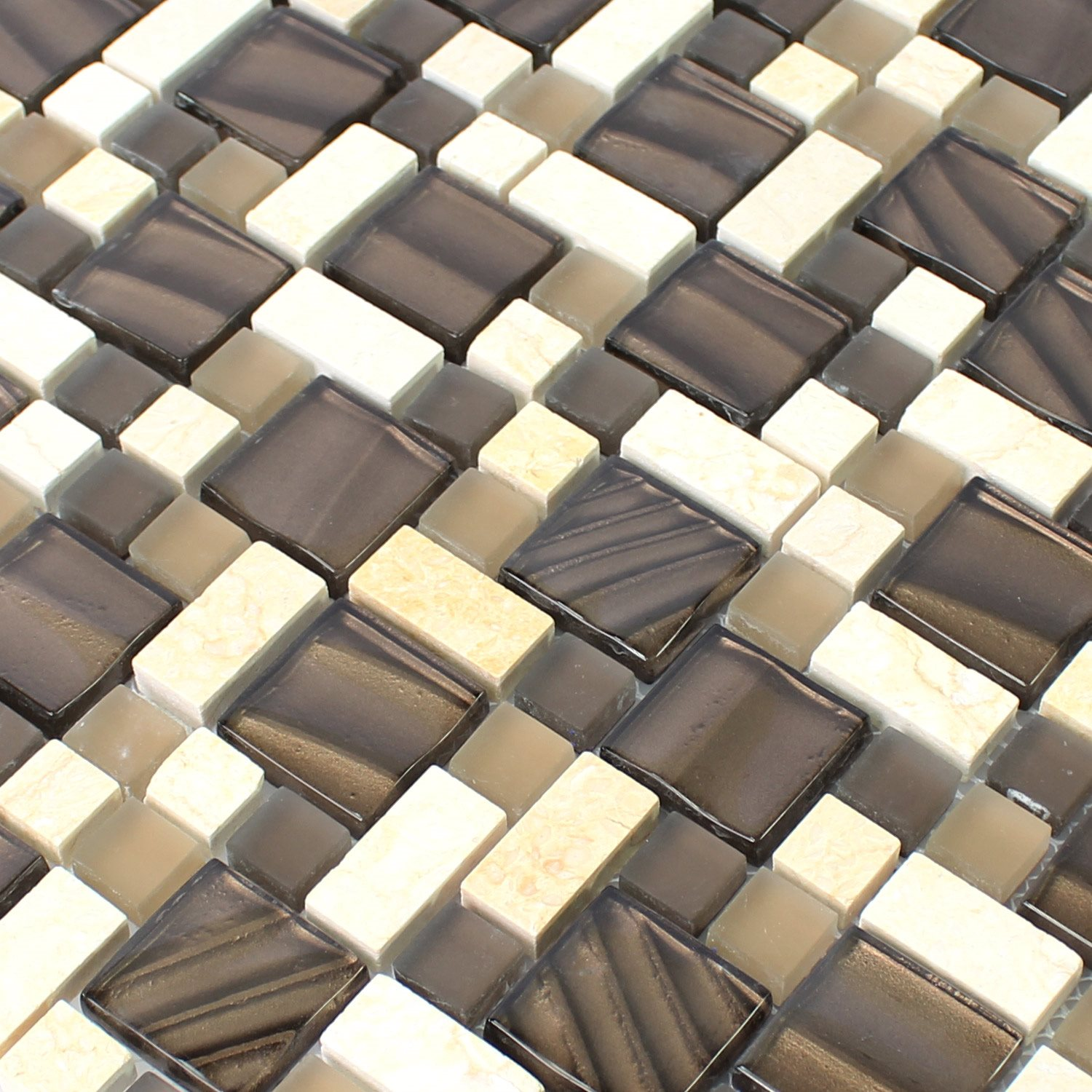 glass natural stone mosaic tiles brown beige br88501. Black Bedroom Furniture Sets. Home Design Ideas