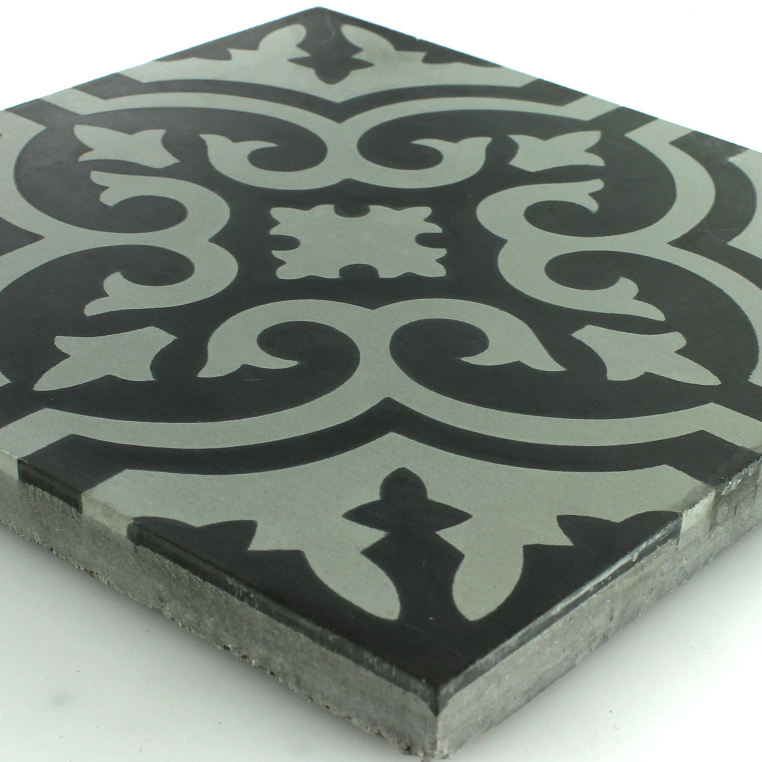 Cement Antique Tiles 20x20cm Ornament Black White Pl78196