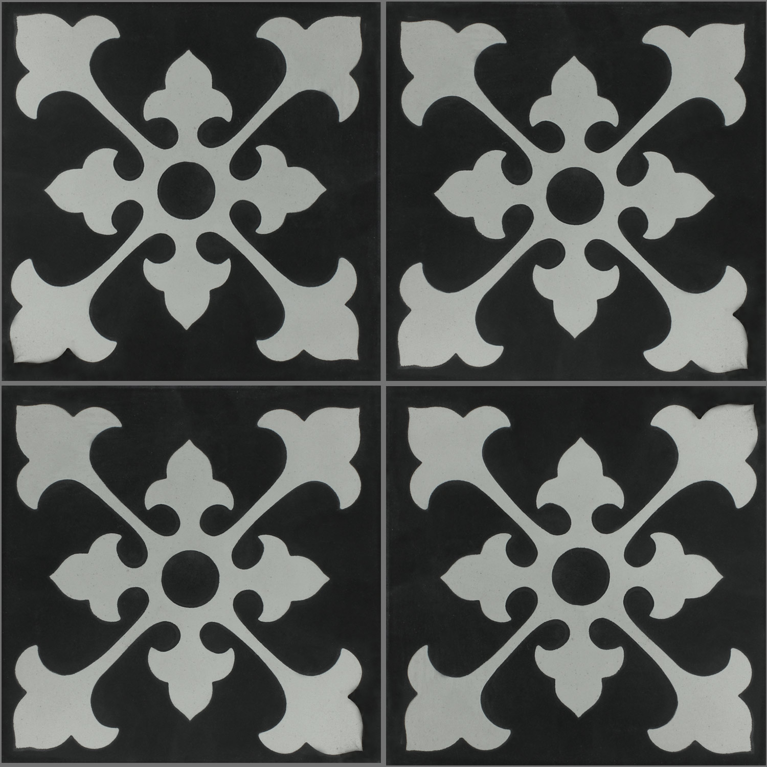Cement Antique Tiles 20x20cm Ornament Black White Pl78198
