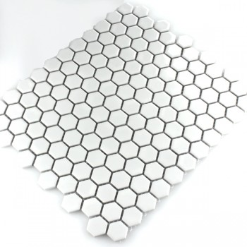 Mosaic Tiles Ceramic Hexagon White Mat 23x23x4mm