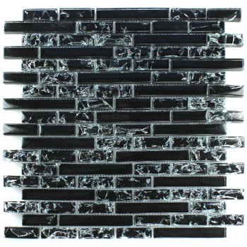 Mosaic Tiles Glass Effect Black