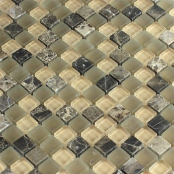 glass marble mosaic tiles 15x15x8mm brown beige mix www. Black Bedroom Furniture Sets. Home Design Ideas