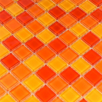 Mosaic Tiles Glass Red Orange Yellow 25x25x4mm
