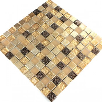 Mosaic Tiles Glass Natural Stone Beige Mix 25x25x8mm