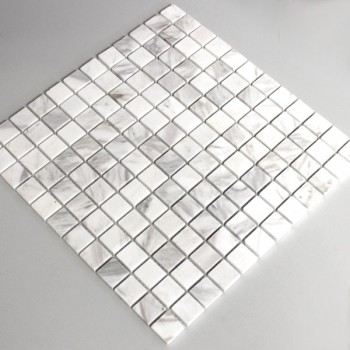Mosaic Tiles Marble 23x23x8mm White Polished