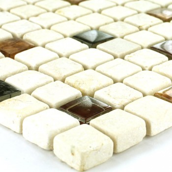 Mosaic Tiles Glass Marble 15x15x8mm Beige Orange Mix