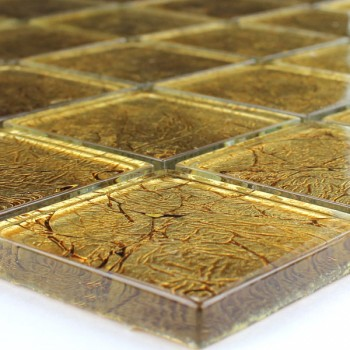 Mosaic Tiles Glass 48x48x8mm Gold Metal