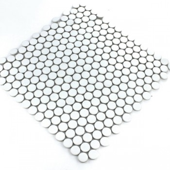 Mosaic Tiles Ceramic Drop Round White Uni