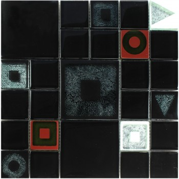 Mosaic Tiles Glass Effect Black Metalic