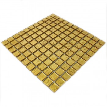 Mosaic Tiles Glass Gold Structured