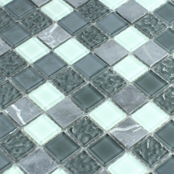 Self Adhesive Natural Stone Glass Mosaic Tiles Grey - Tm33421