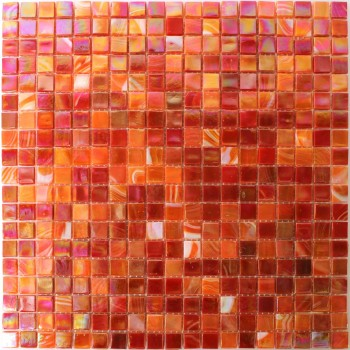 SAMPLE Mosaic Tiles Glass Nacre Effect Red Mix