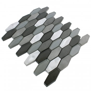 Mosaic Tiles Hexagon Lupo Black Silver