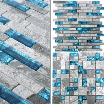 Glass Mosaic Natural Stone Tiles Sinop Grey Blue