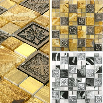 Mosaic Tiles Levanzo Glass Resin Ornament Mix