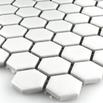 Mosaic Tiles Ceramic Hexagon White Mat H23