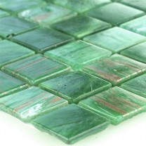 Glass Effect Mosaic Tiles Gold Star Green