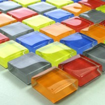 Mosaic Tiles Glass 23x23x8mm Colored Mix