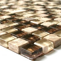 Glass Marble Natural Stone Mosaic Beige Gold