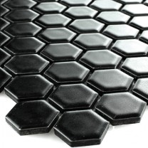 Mosaic Tiles Ceramic Hexagon Black Mat H23