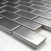 Mosaic Tiles Stainless Steel Brushed Rectangle