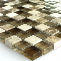 Mosaic Tiles Glass Marble Brown Beige 15x15x8mm