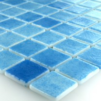 Glass Swimming Pool Mosaic 25x25x4mm Light Blue Mix