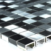 Mosaic Tiles Aluminium Black Silver 15x15x8mm