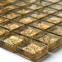 Mosaic Tiles Glass 23x23x8mm Gold Metal