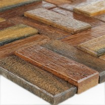 Wood Mosaic Tiles Planks Lacquered