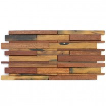 Wood Mosaic Tiles 30x60cm Brown Mix Lacquered