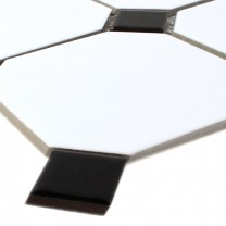 Mosaic Tiles Ceramic Octagon White Black Mix