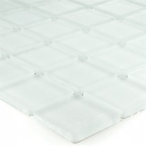 Mosaic Tiles Glass White Mat Uni