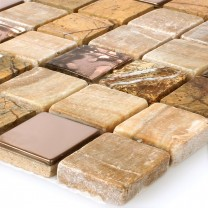 Mosaic Tiles Glass Natural Stone Stainless Steel Brown Mix