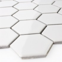 Mosaic Tiles Ceramic Hexagon White Glossy