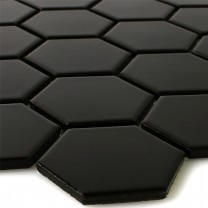 Mosaic Tiles Ceramic Hexagon Black Mat