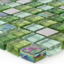 Mosaic Tiles Glass Stainless Steel Green Mix