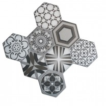 Floor Tiles Hexagon Cement Retro Optic 45x45cm