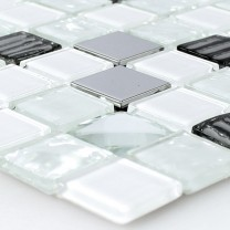 Self Adhesive Glass Stainless Steel Mosaic White Silver