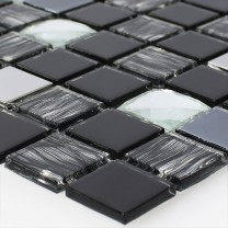 Mosaic Tiles Glass Stainless Steel Self Adhesive Black Silver
